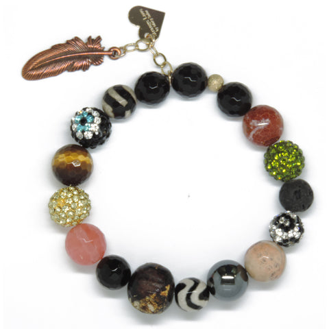 Big Buddah Bead - Eclectic Love & Feather Charm