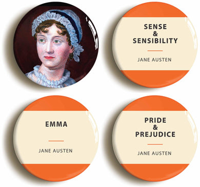 Jane Austen Badges - Set of 4
