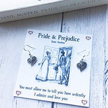 Load image into Gallery viewer, Pride And Prejudice Heart Earrings -  thejaneaustenshop.co.uk