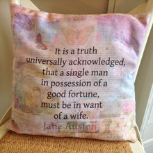 Load image into Gallery viewer, Pride & Prejudice Opening Quote Cushion