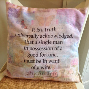 Pride & Prejudice Opening Quote Cushion