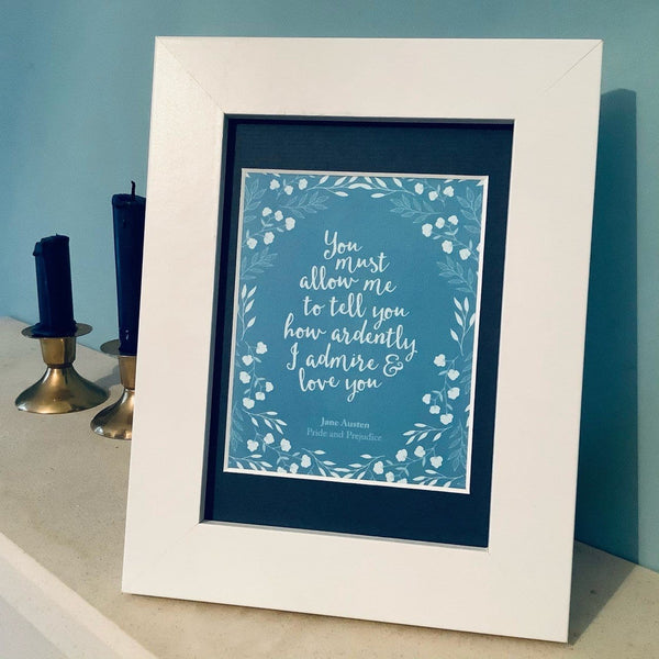 Mr. Darcy's Proposal White Framed Print