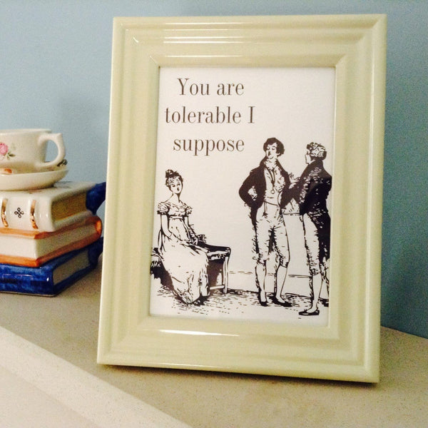 Mr. Darcy's Tolerable Quote Cream Framed Print