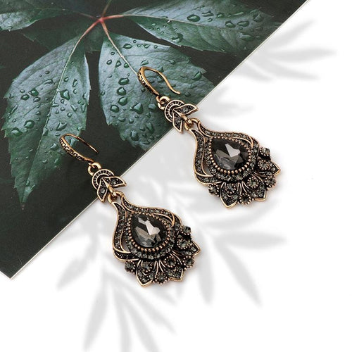 Luxury Grey Crystal Drop Earrings
