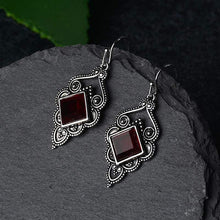 Load image into Gallery viewer, Jane Austen Court Style Deep Red Earrings