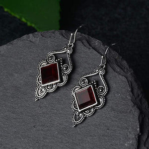 Court Style Deep Red Earrings