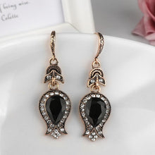 Load image into Gallery viewer, Black Stone Drop Earrings