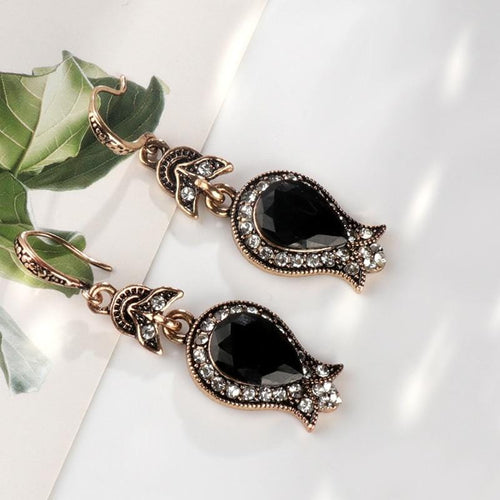 Black Stone Drop Earrings