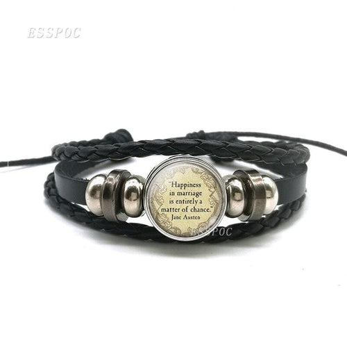 Jane Austen Quote Leather Wristband