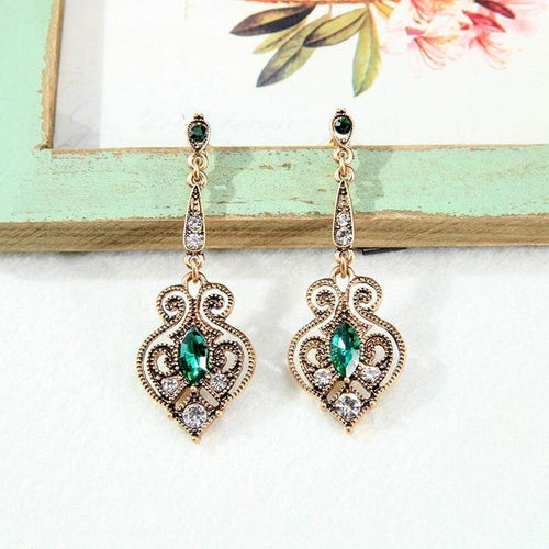 Vintage Gold Crystal Hollowed-out Drop Earrings