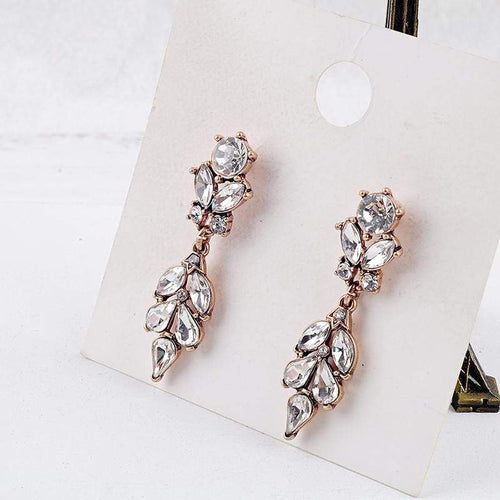 Vintage Gold Tear Drop Crystal Earrings