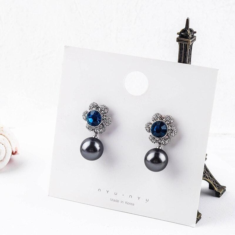 Blue Crystal & Pearl Drop Earrings