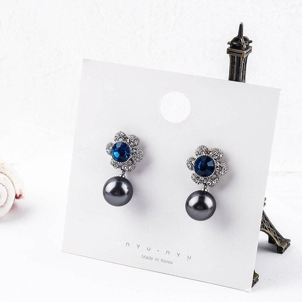 Blue Crystal & Pearl Drop Earrings -  thejaneaustenshop.co.uk