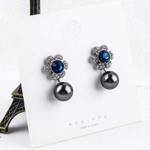 Jane Austen Inspired Blue Crystal & Pearl Drop Earrings