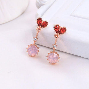 Pink & Red Crystal Drop Earrings