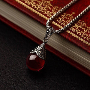 Jane Austen Inspired Ruby Red Stone Necklace
