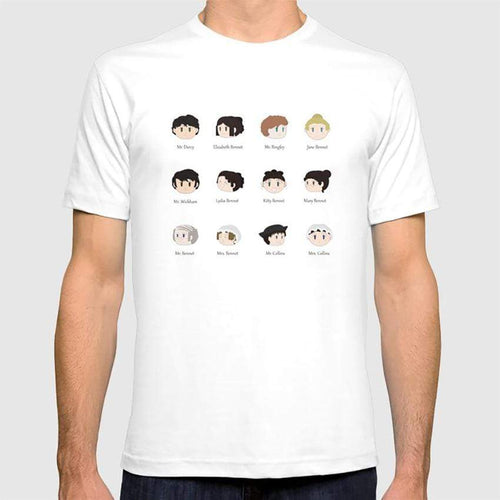 Jane Austen Pride and Prejudice Kawaii Characters T-Shirt
