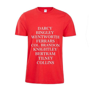 Romantic Male Characters T-Shirt -  thejaneaustenshop.co.uk