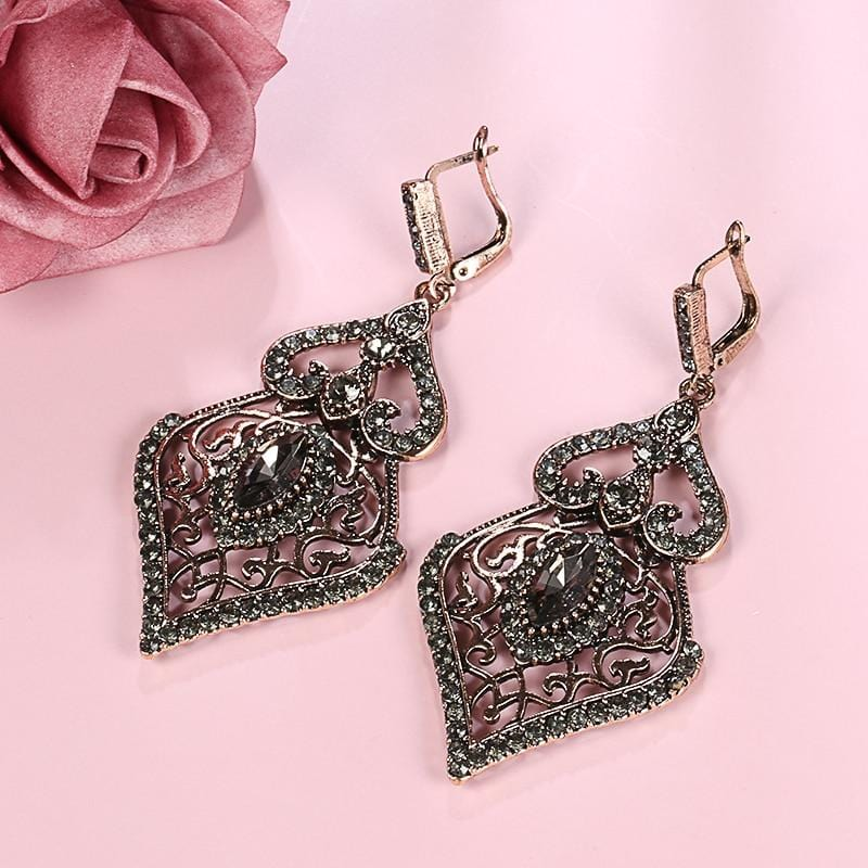 Regency Grey Crystal Drop Earrings