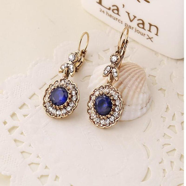 Blue Antique Gold Drop Earrings -  thejaneaustenshop.co.uk