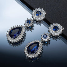 Load image into Gallery viewer, Sapphire Blue Crystal Dangle Earrings