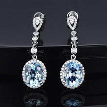 Load image into Gallery viewer, Silver Sky Blue Crystal Drop Earrings