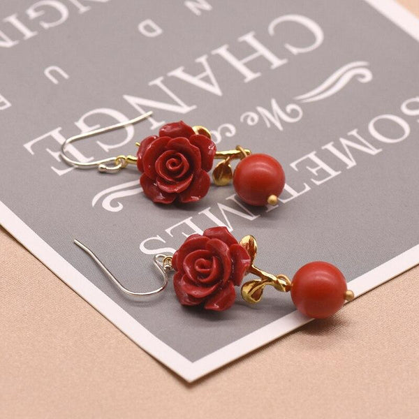 Red Coral Rose Dangle Earrings