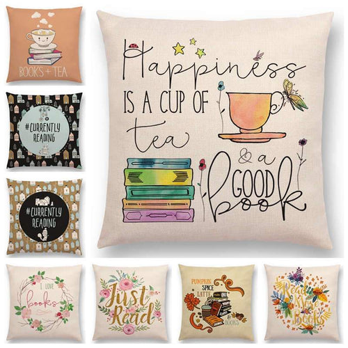 Enjoy Life Reading Books Cushion Cover -  thejaneaustenshop.co.uk