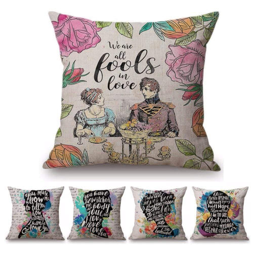 Quotes & Notes Decorative Cushion Cover -  thejaneaustenshop.co.uk