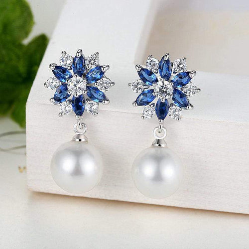 Jane Austen Crystal & Pearl Drop Earrings