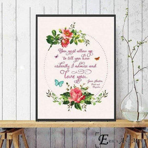 Jane Austen Love Quote Canvas Picture