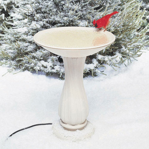 "20"" Heated White Pedestal Bird Bath"