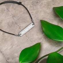 "Load image into Gallery viewer, Sun Country Highway ""We Are One"" Engraved Silver Bar String Bracelet + 1 tree planted"