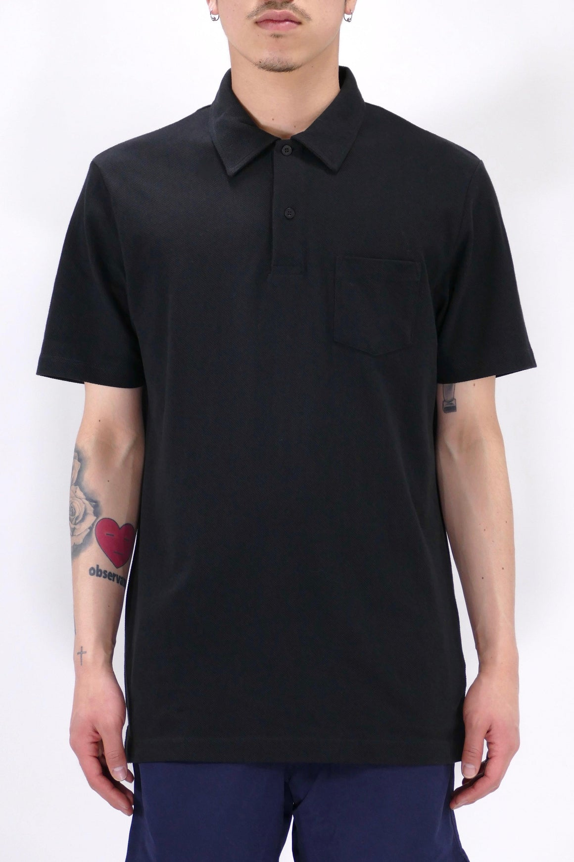 Sunspel Riviera Polo Black