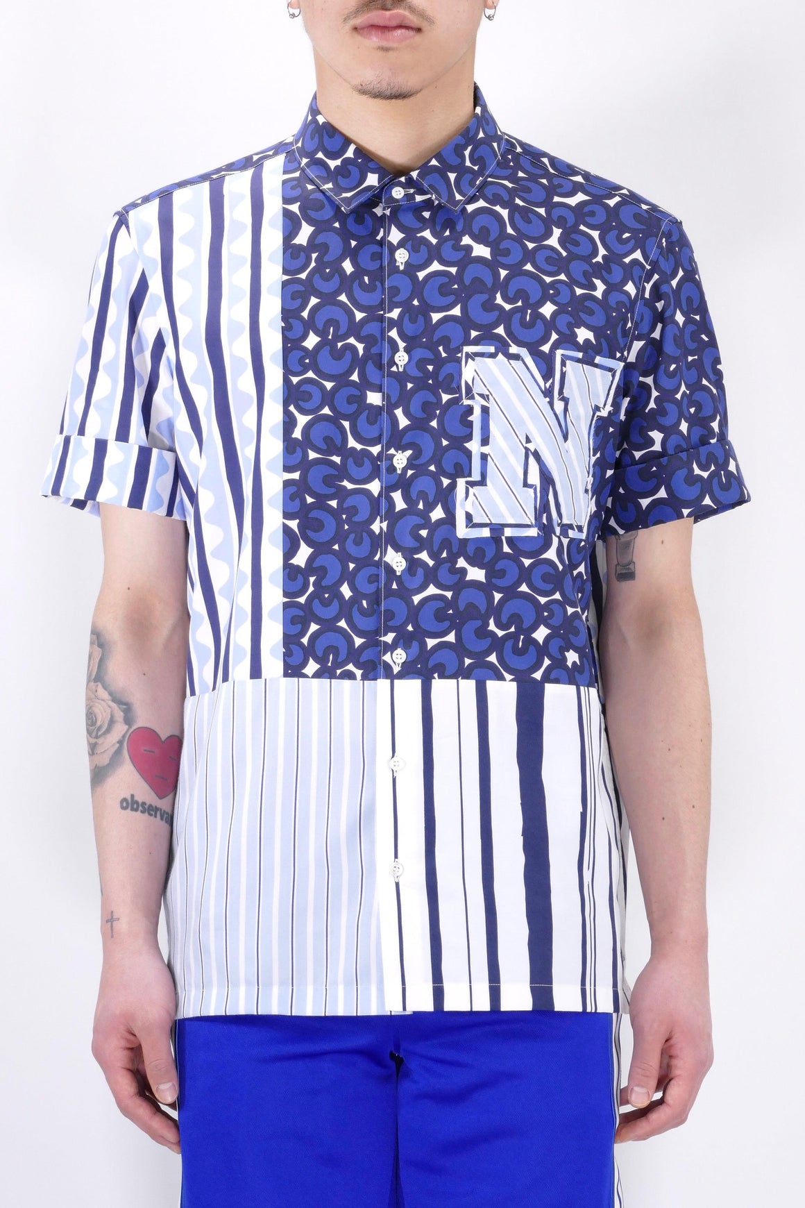 Neil Barrett Mens Shirt Badge Mix Artist Blue/White