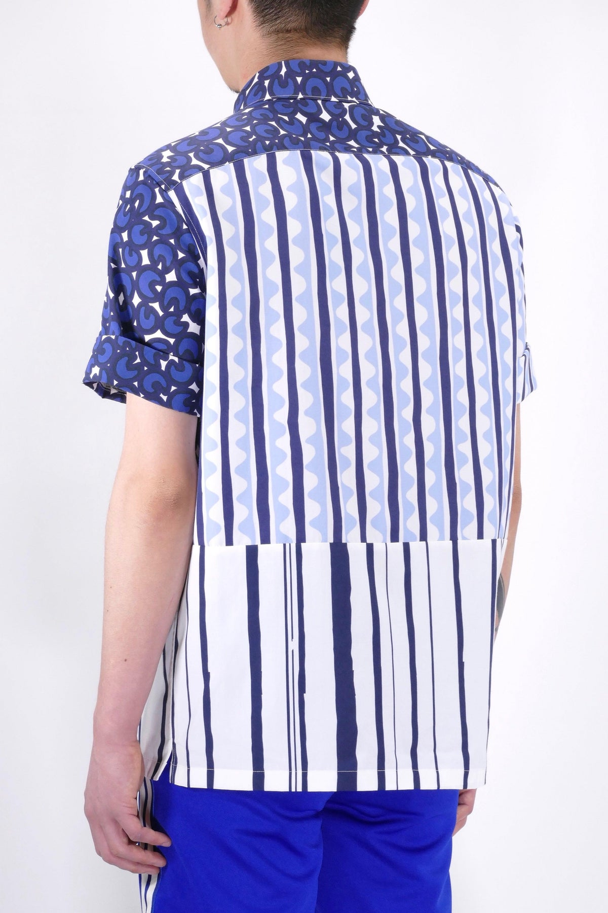 Neil Barrett Contrast Short Sleeve Shirt Blue/White