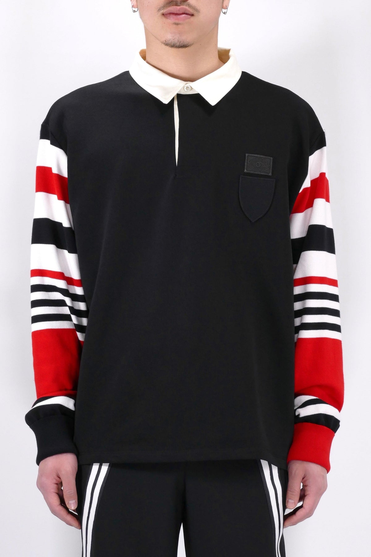 Neil Barrett Striped Rugby Shirt Black/Red/White