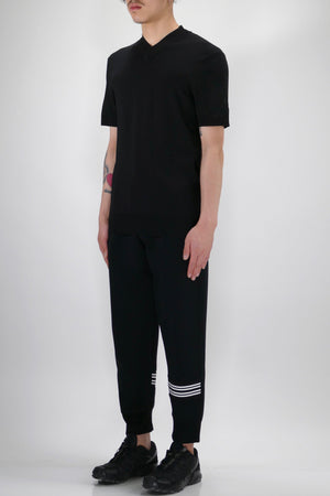 Neil Barrett Double V-Neck Knit T-Shirt Black