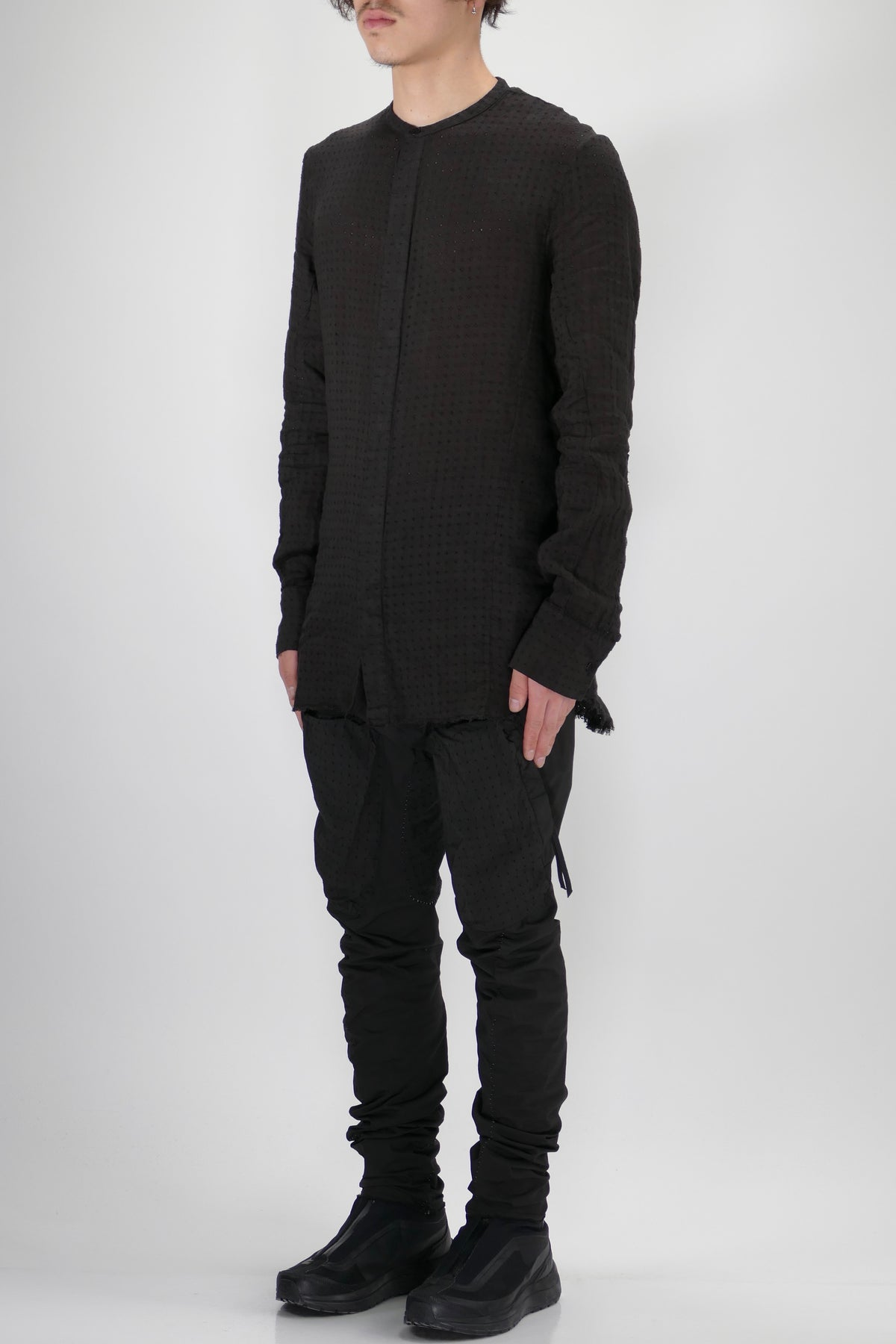 Masnada Perforated Mandarin Collar Shirt Black