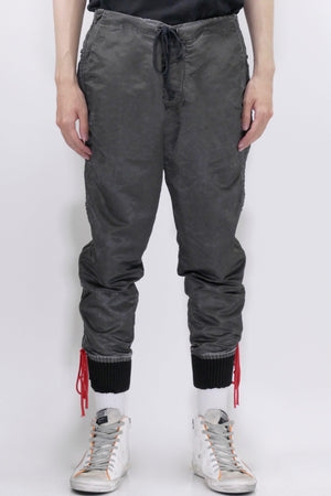 Greg Lauren Washed Satin Stacked Lounge Pants Black