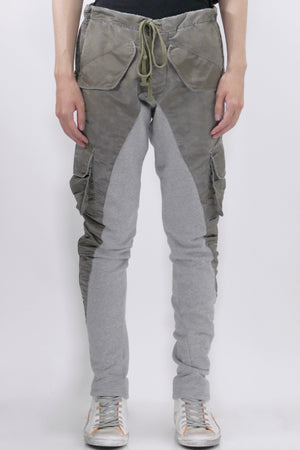 Greg Lauren Washed Satin 50/50 Pants Army Grey