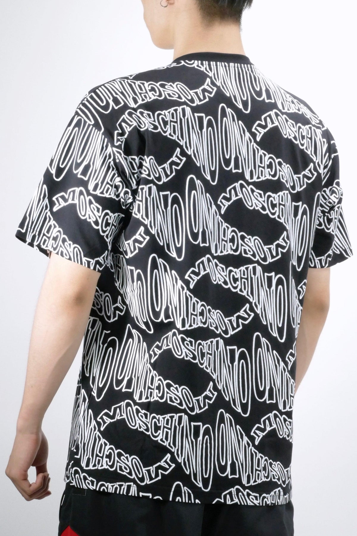 Moschino Warped Logo All Over T-Shirt Black