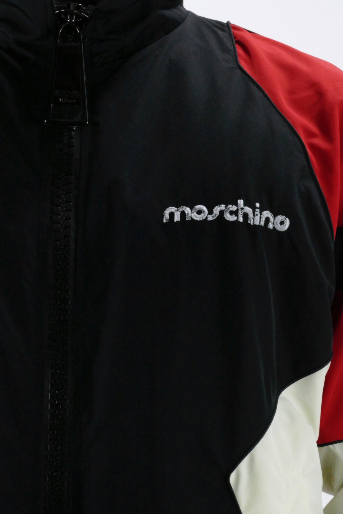 Moschino Nylon Windbreaker Broken Logo Black