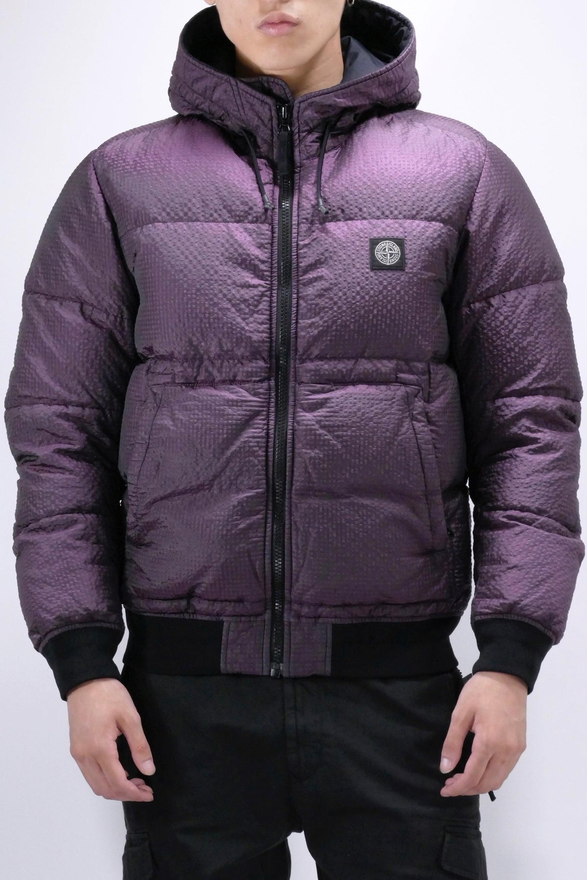 Stone Island 42634 Poly-Colour Frame Down-TC: Hooded Jacket Black