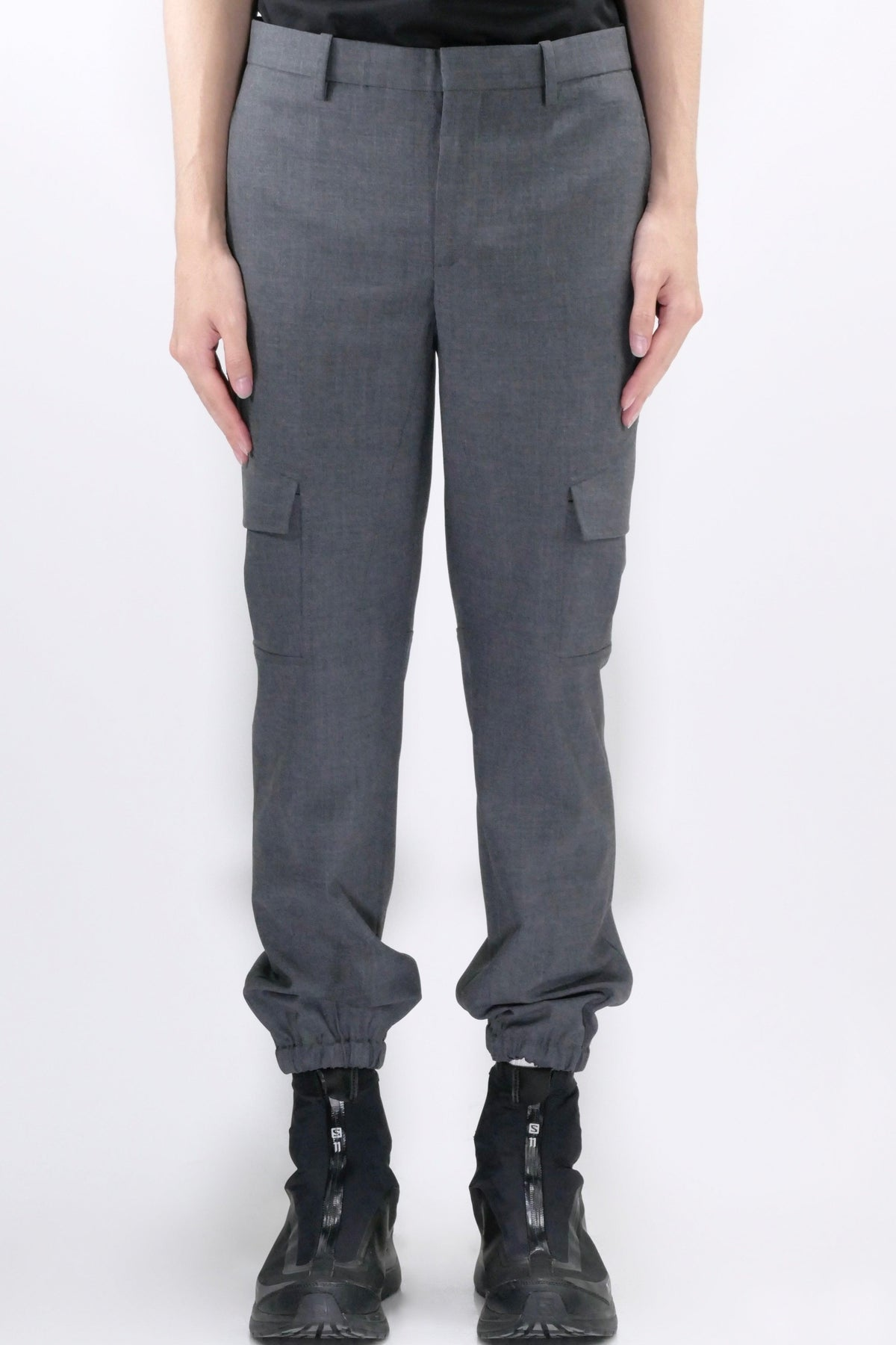 Neil Barrett Elastic Hem Cargo Pants Grey