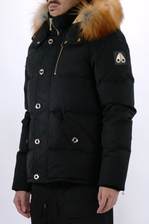 Moose Knuckles Mens *Parka Minnentonka Jacket Black with Gold Fox Fur