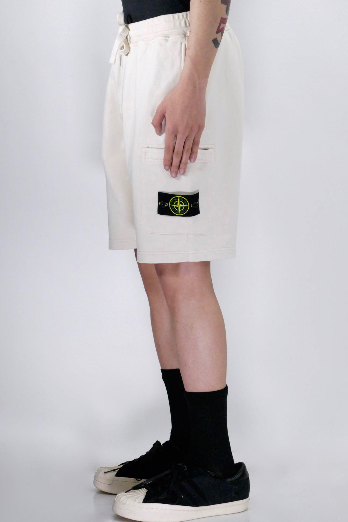 Stone Island 64651 Fleece Shorts - Ivory