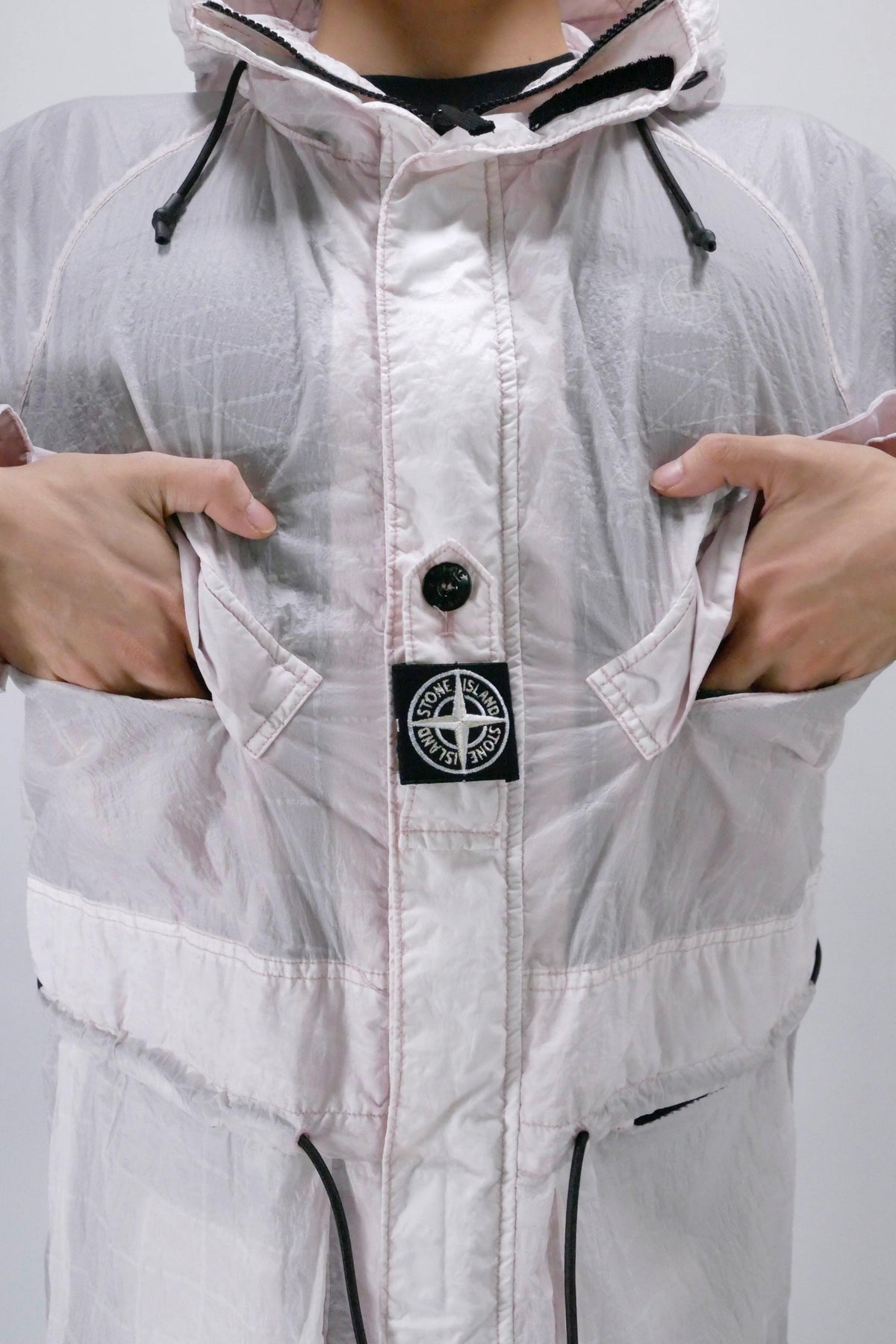 Stone Island 42999 Reflective Grid on Lamy-TC Hooded Jacket - Antique Rose