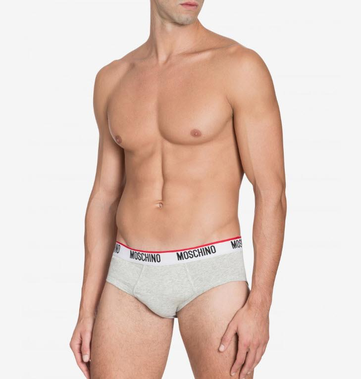 Moschino Cotton Briefs with Logo Grey Melange