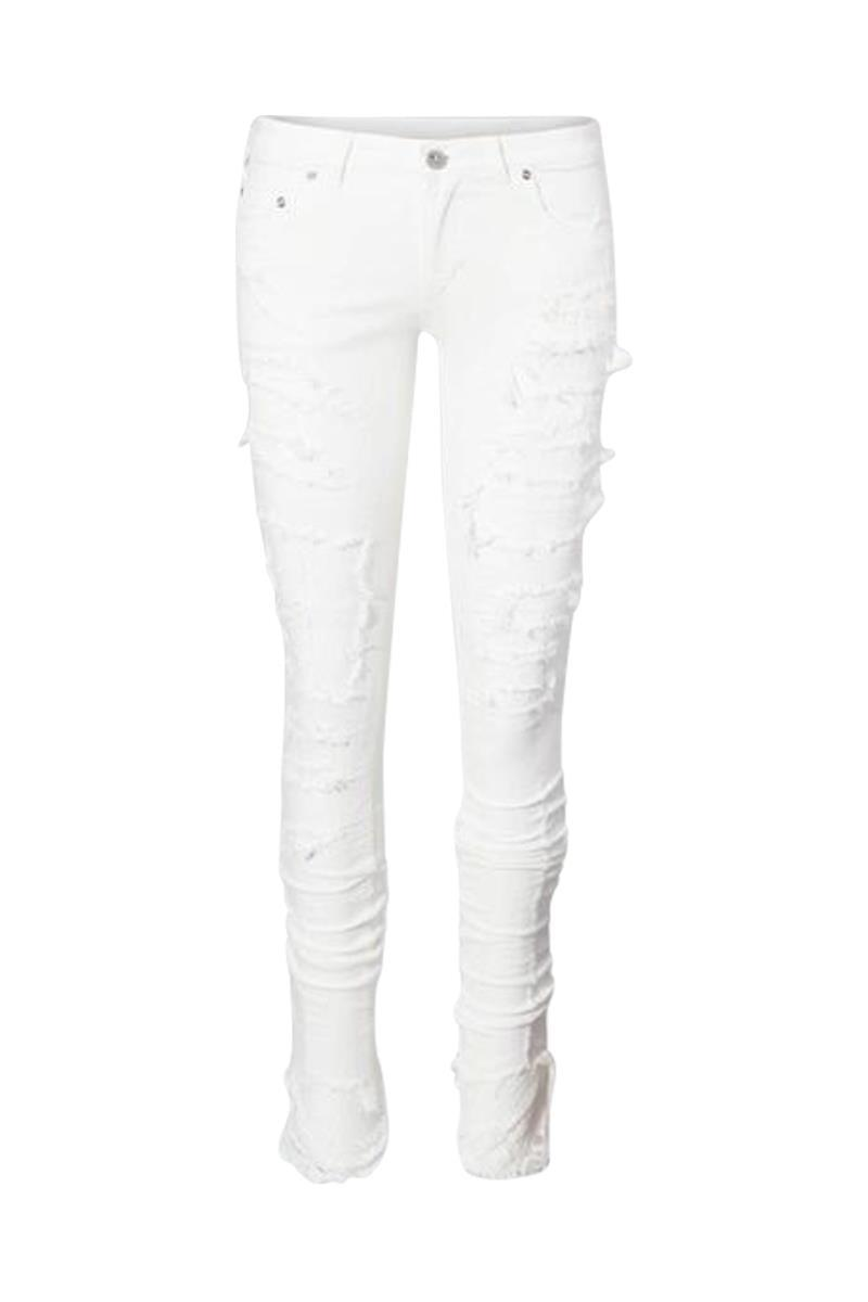 Fagassent Peacock Lace Crushed Jeans